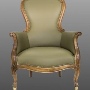Sessel in grünem Leder